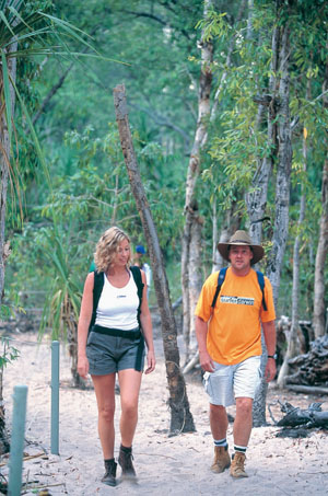 Walking at Gunlom Falls in Kakadu National Park - photo courtesy of NT Tourism